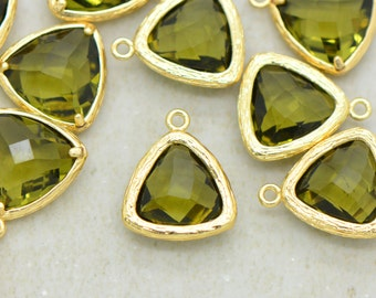 Triangle Jewel Charms OLIVINE Faceted Glass in 24k GOLD Plated Brass Setting Drop Gem Jewels 14mm Triangle Bezel Olive Green ()