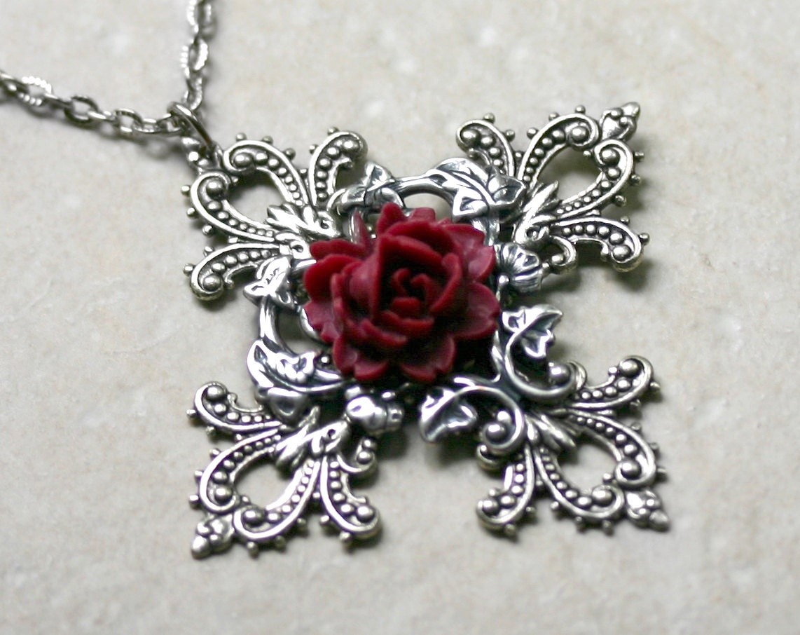 Gothic cross necklace with red rose zoom aloadofball Choice Image