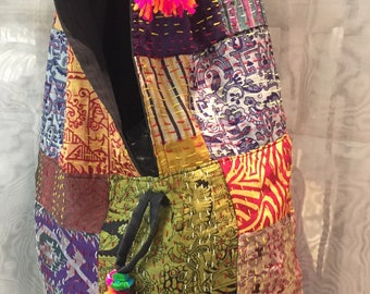 Silk patchwork bag,. Boho bag..