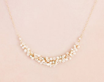 Delicate Bridal Freshwater Pearl, Swarovski Crystal and Rhinestone Minimalist Necklace