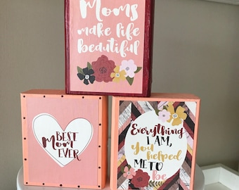 Mother's Day Wooden Blocks