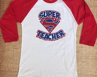 Super Teacher Glitter Tshirt Baseball Raglan