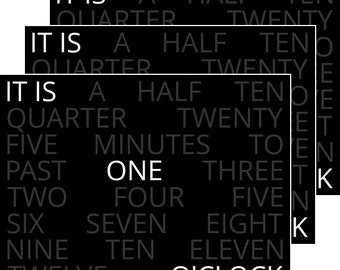 Word Clock Images – Black Background – 4:3
