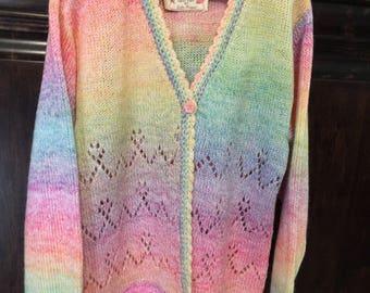 Hand Knit Girls Sweater size 6/7