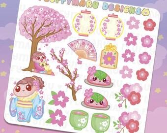 Cherry Blossoms Deco Sticker Set    Planner Stickers, Cute Stickers for Erin Condren (ECLP), Filofax, Kikki K, Etc.    DS32