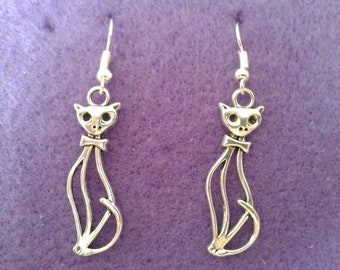 Cat Earrings * Tall Elegant * Kitten * Witch * Pet * Cute