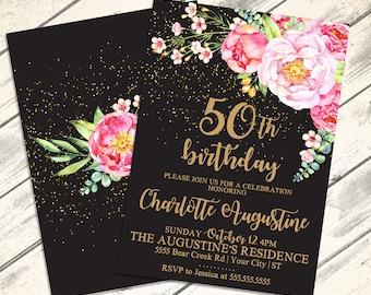 Any Age Birthday Invitations - 30th Birthday, 40th Birthday, 50th Birthday, 60th Birthday | Editable Text - Instant Download PDF Printable