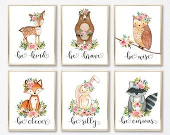 Nursery Wall Art. Girl Woodland Nursery. Woodland Nursery. Girl. Woodland Baby Shower Gift. Floral Nursery Decor. Baby Girl Nursery Prints