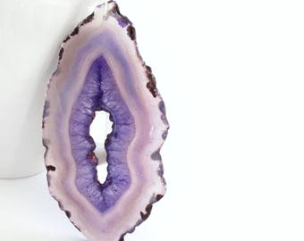 Long Purple Druzy Necklace, Large Agate Slice, Stone Pendant Jewelry, 14th Anniversary Gift