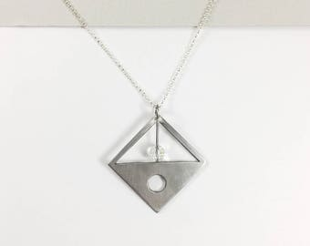 Positive/Negative Geometric Necklace with Crystal + Sterling Silver Chain