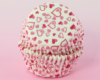 Pink and White Heart Cupcake Liners 2'' Standard Size , Baking Cups Bulk