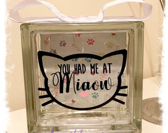 BRAND NEW Glass Block Light - Cat   You had me at Miaow   Cat Lover