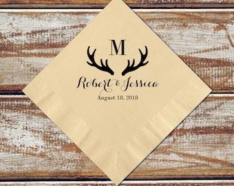 Personalized Napkins Deer Antler Wedding Rustic Cocktail Napkins Gift, 100 Monogram Napkins, Camo Wedding, Letter Napkins, Paper Napkins