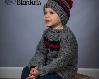 Instant Dowload- Crochet Pattern- Isaac Pullover Sweater Child Sizes