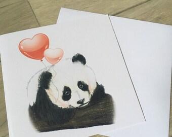 Panda, panda valentine , valentines card, greetings card, for panda lovers