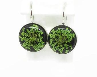 Green earrings dangle sterling silver earrings real pressed flowers earrings handmade floral dangles Botanical nature jewelry Made in italy