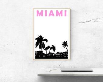 Miami Print // Florida Travel Print // Miami Poster // Florida Poster // Miami Art // Florida Print // Florida Art // Best Friend Gift