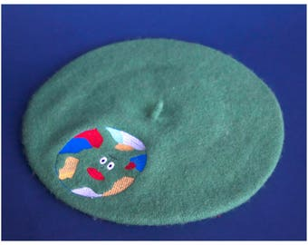 THE GEOGRAPHY FIELDTRIP beret embroidered beret