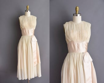 vintage 1950s R&K fluttery chiffon ivory satin bridesmaid dress 50s XS Small 50s vintage party dress