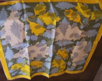 """Vintage 60's """"VERA NEUMANN"""" Scarf in a Leaf Design with Fall Colors Iconic Lucky Ladybug Logo"""