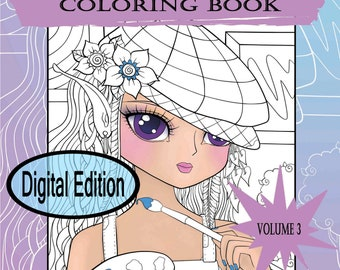 Digital Edition Anime Doodle Girls Volume 3 Coloring Book for adult coloring or any age