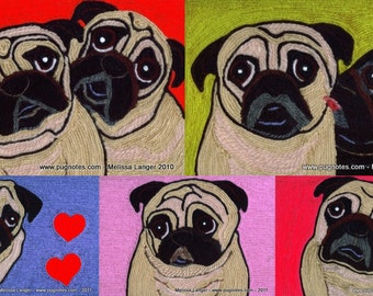 Pug Love Note Cards - Yarn Paintings - Fawn and Black Pugs - 5 Designs