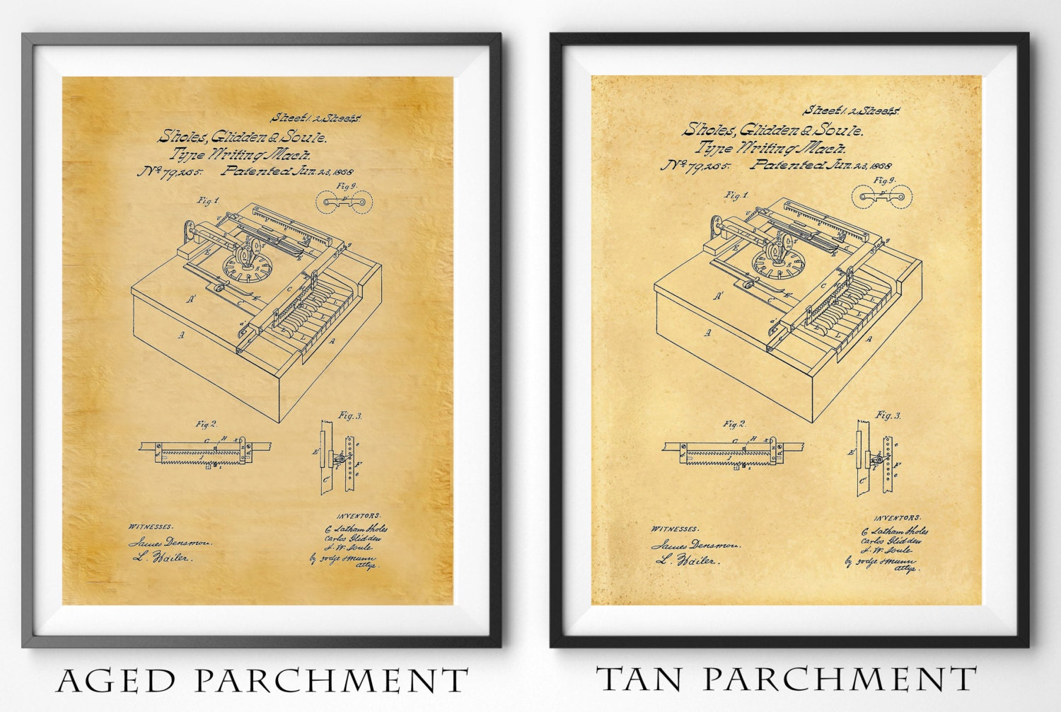 1868 Typewriter Machine Patent - Art Print - Poster - Office Wall ...