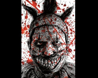 "Print 11x17"" - Twisty the Clown - American Horror Story John Carrol Lynch Dark Art Halloween Freak Show Circus Sideshow Serial Killer Clowns"