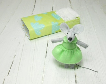 Tiny stuffed animal mouse in matchbox bed felt mouse doll in matchbox hand made dolls mint green lime woodland nursery decor
