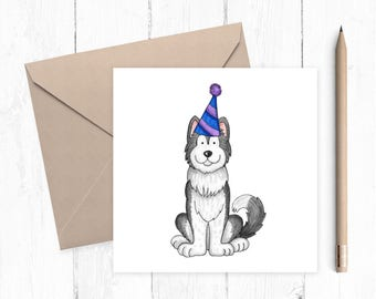 Husky Birthday Card - husky - birthday card - dog card - ideal gift for dog lovers