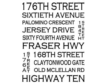 Cloverdale B.C. - Love This Place Street Name Art Print on Paper - Customize With Your Street - Surrey Vancouver Surrey White Rock