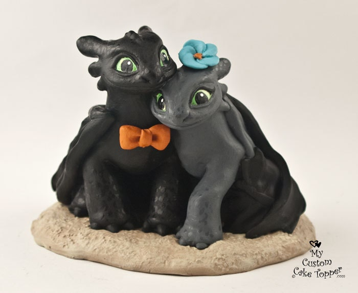 Toothless Nightfuries Wedding Cake Topper Dragon Bride and