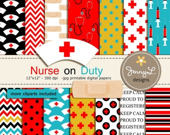 Nurse Digital Paper and Clipart, Medical, Syringe, Blood, Medicine, Bandaid, Heart, Stethoscope for Birthday, Scrapbooking Paper Party Theme