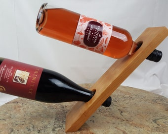 Double wine bottle holder Cherrywood