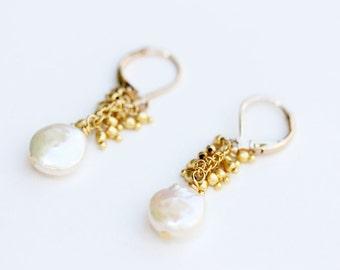 Gold Pearl Cluster Earrings, Pearl Earrings, Pyrite Earrings, Drop Earrings, Wedding Earrings, Bridesmaid Earrings, Pearl Drop Earrings