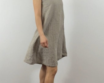 Linen Sundress / Above Knee / Sleeveless / Swing