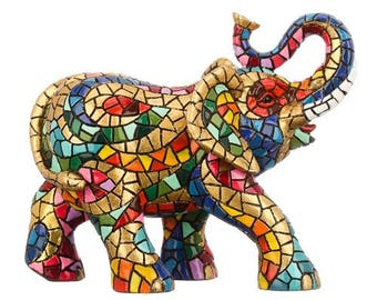 """Elephant ceramic statue, model """"Carnival"""" mosaic. Height 7 inches"""