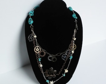 Western chain necklace, 3 tiered necklace, Steampunk inspired necklace, Snake bone, gears, Turquoise necklace, womans, wired necklace