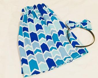 Set of blue geometric patterned skirt sne headband