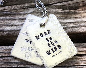 I am the Wise Hand Stamped Girl Power Necklace