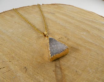 Druzy Quartz Triangle Necklace | Crystal Necklaces