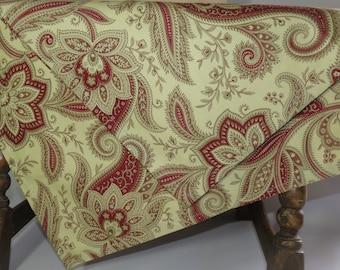 Paisley Table Cloth, Maroon Table Cloth, Cream Table Cloth, Maroon and Cream Paisley Table Cloth, 50X45 Table Cloth