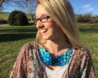 Ombre Blue Button Necklace