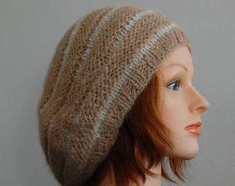 Natural RIAF Soft Warm Hand Crafted Striped Alpaca Slouchy Beanie Hat, Tan and Ivory