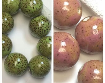 5-UPICK-speckled Lime or Pink beads,Pink speckled unique Porcelain beads, lime Large round 22mm Ceramic  Beads,P27, Ships USA