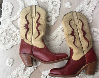 Vintage FRYE white red women's western boots cowgirl cowboy boots 6B