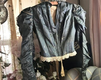 Antique Victorian Dusty Blue Bodice Lace Trim Poof Sleeves Shabby Chic Display A106