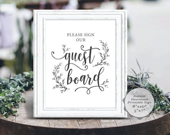 Wedding guest board sign, printable PDF template, instant download guestbook sign, in rustic botanic calligraphy, 8x10, 5x7 (TED418s_17)