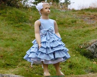 Light blue flower girl dress. Organic cotton flower girl dress. Ruffle flower girl dress. Blue flower girl dress. Girls special occasion
