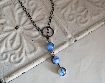 Glass Marble Reclaimed Drop Long Necklace OOAK Jewelry Blue White